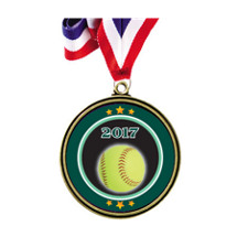 "Softball Medal - 2 1/2"" Antique Gold 2017 Softball Medal w/ 30"" Red, White and Blue Neck Ribbon"