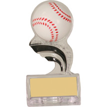 "Baseball Trophy - 5"" Silhouette Clear Acrylic Trophy with a 3-D Molded Baseball"
