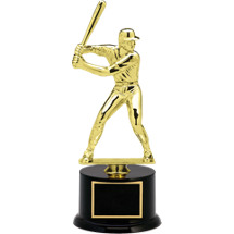 "12 1/2"" Black Acrylic Trophy with Male Baseball Batter Figure"