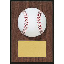 "Baseball Plaque - 5 x 7"" Plaque with a Walnut-tone Board - 3-D Molded Baseball"