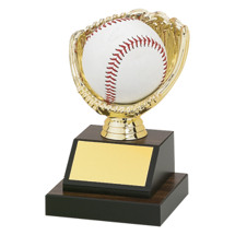 "Softball Trophy - 6"" Walnut-tone Base with Open Gold Softball Glove to Fit a Softball"