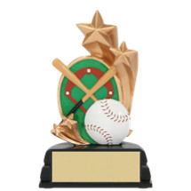 "Baseball Trophy - 6"" Baseball and Stars Resin Trophy"