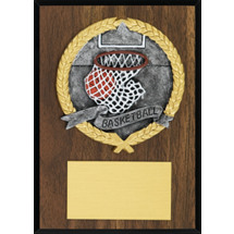 "DINN DEAL! 5 x 7"" Plaque with a Walnut-tone Board - Color Brushed Pewter-Tone Resin Cast Basketball"