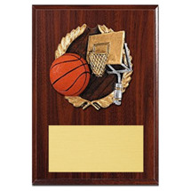 "5 x 7"" Plaque with a Walnut-tone Board - Color Brushed Resin Cast Basketball"