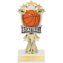 "Basketball Trophy - 7 1/2"" Basketball and Stars Trophy"