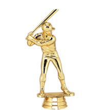 Male Baseball Batter Gold Trophy Figure