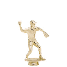 Male Baseball Fielder Gold Trophy Figure
