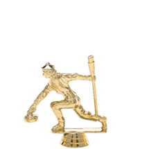 Female Curling Gold Trophy Figure