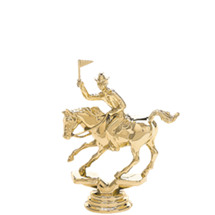 Flag Racing Horse Gold Trophy Figure
