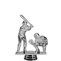 Baseball Catcher - Double Action Male Silver Trophy Figure