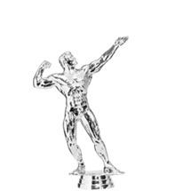 Body Building Male Silver Trophy Figure