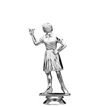 Dart Thrower Overhand Female Silver Trophy Figure