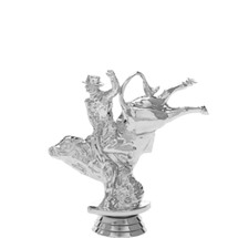 Bull w/Rider Silver Trophy Figure