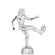 Soccer Kicker Female Silver Trophy Figure