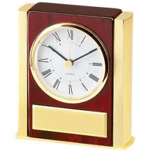"""5 1/4 x 4 1/4"""" Rosewood Deskset w/Quartz Clock"""