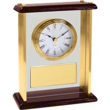 """7 1/4 x 9 1/8"""" Classic Desk Clock w/Gold Plate"""