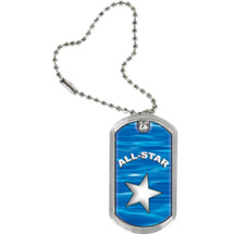 "1 1/8 x 2"" All Star Sports Tag with Key Chain"