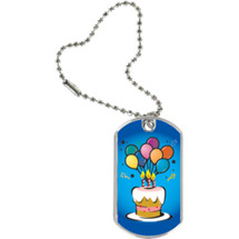 "1 1/8 x 2"" Birthday Tag with Key Chain"