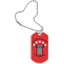 "1 1/8 x 2"" Outstanding Student Sports Tag with Key Chain"