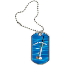 "1 1/8 x 2"" Field Hockey Sports Tag with Key Chain"