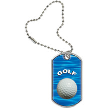 "1 1/8 x 2"" Golf Sports Tag with Key Chain"