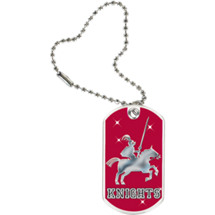 "1 1/8 x 2"" Knights Mascot Sports Tag with Key Chain"