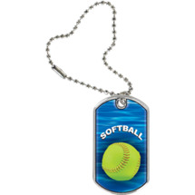 "Softball Dog Tag - 1 1/8 x 2"" Softball Sports Tag with Key Chain"