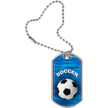 "Soccer Dog Tag - 1 1/8 x 2"" Soccer Sports Tag with Key Chain"