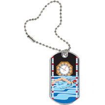 "1 1/8 x 2"" Swimming Sport Tag with Key Chain"