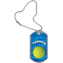 "1 1/8 x 2"" Tennis Sports Tag with Key Chain"