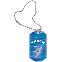 "1 1/8 x 2"" Track Sports Tag with Key Chain"