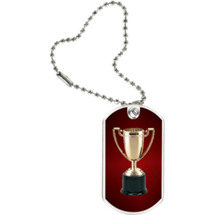 "1 1/8 x 2"" Achievement Trophy Sports Tag with Key Chain"