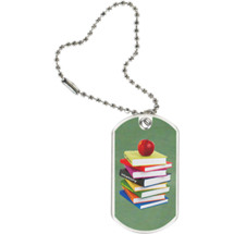 "1 1/8 x 2"" School Tag with Key Chain"