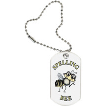 "1 1/8 x 2"" Spelling Bee Sports Tag with Key Chain"