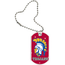 "1 1/8 x 2"" Trojans Mascot Sports Tag with Key Chain"