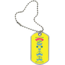 "1 1/8 x 2"" Super Star Sport Tag with Key Chain"