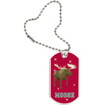 "1 1/8 x 2"" Moose Mascot Sports Tag with Key Chain"