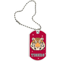 "1 1/8 x 2"" Tigers Mascot Sports Tag with Key Chain"