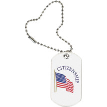 "1 1/8 x 2"" Citizenship Sports Tag with Key Chain"