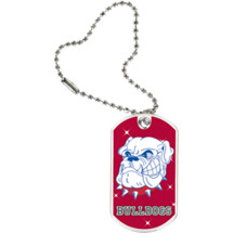 "1 1/8 x 2"" Bulldogs Mascot Sports Tag with Key Chain"