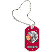 "1 1/8 x 2"" Chiefs Mascot Sports Tag with Key Chain"