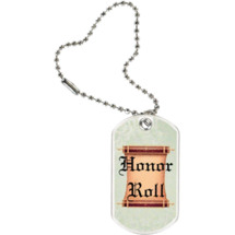 "1 1/8 x 2"" Honor Roll Sports Tag with Key Chain"