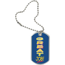 "1 1/8 x 2"" Great Job Sport Tag with Key Chain"