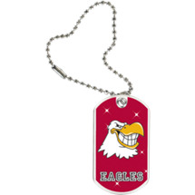 "1 1/8 x 2"" Eagles Mascot Sports Tag with Key Chain"