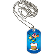"1 1/8 x 2"" Birthday Tag with Neck Chain"