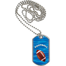 "1 1/8 x 2"" Football Sports Tag with Neck Chain"