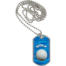 "1 1/8 x 2"" Golf Sports Tag with Neck Chain"