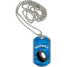 "1 1/8 x 2"" Hockey Sports Tag with Neck Chain"