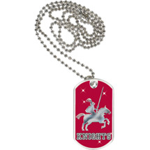 "1 1/8 x 2"" Knights Mascot Sports Tag with Neck Chain"
