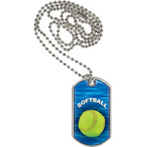 "Softball Dog Tag - 1 1/8 x 2"" Softball Sports Tag with Neck Chain"